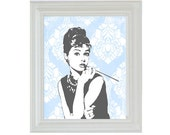 Silhouette Audrey Damask Art Print in Trendy Modern Design Gray and Light Blue 8 x 10