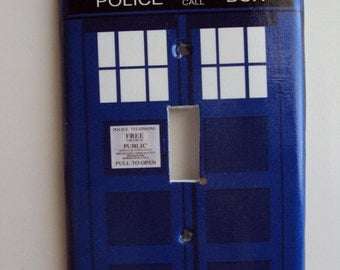 Blue  Police Box Switchplate Cover in Single Toggle