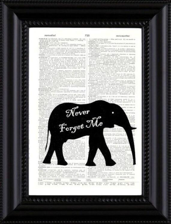 Never Forget Me Elephant Vintage Book Page Art