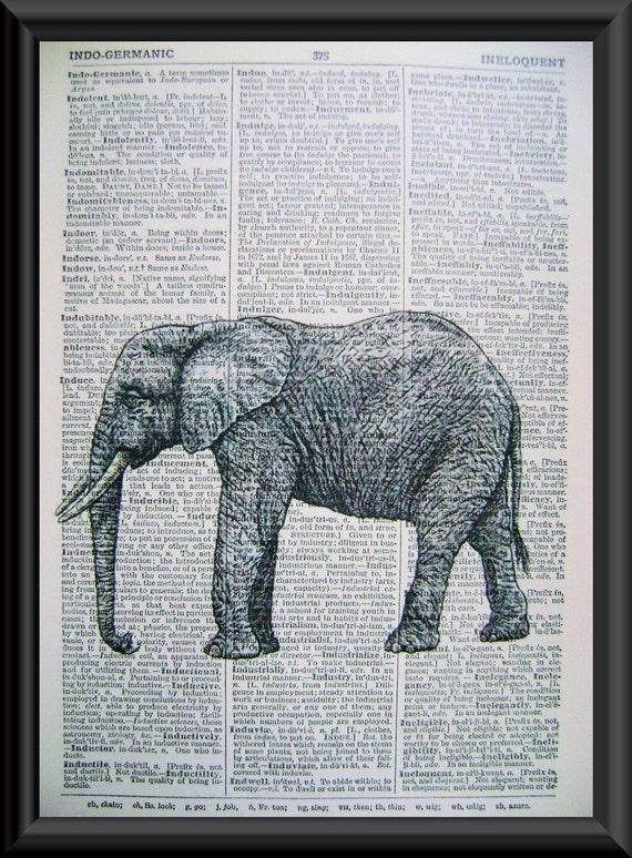 Antique Elephant Illustration Vintage Book Page ArtVintage Elephant Illustration