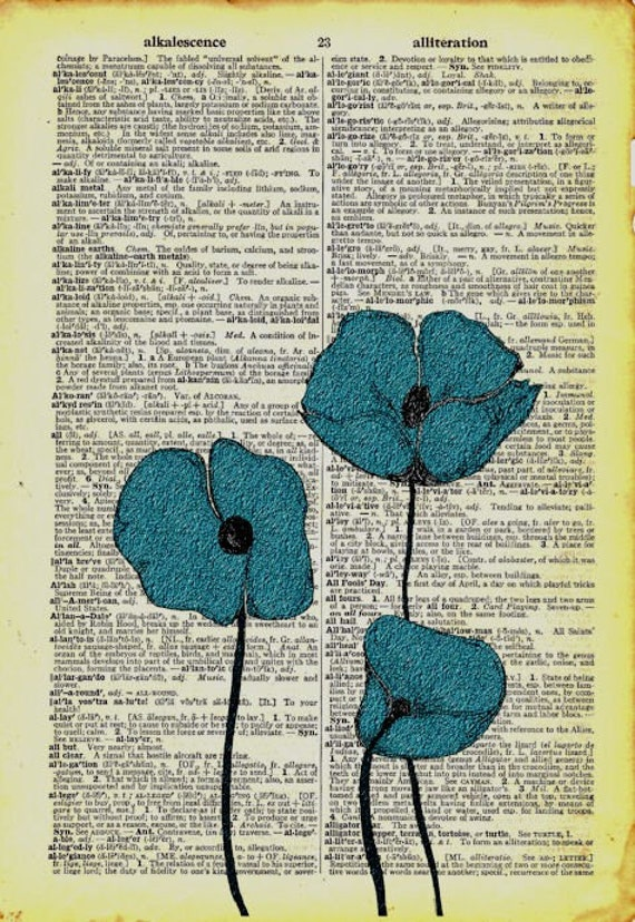 Blue Poppies Vintage Dictionary Book Page Art