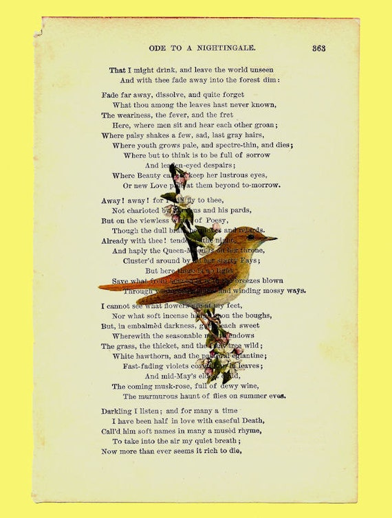 Ode To A Nightingale Vintage Poem Book from by ...