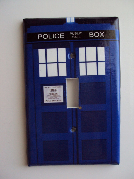 SALE Blue Tardis Police Box Switchplate Cover in Single Toggle