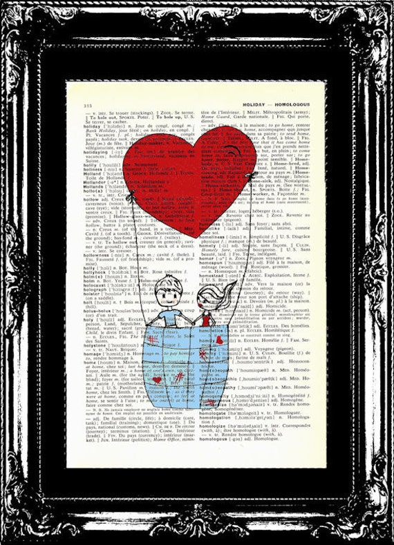 Love Doodle Art Print Vintage English to French Dictionary Page Original Art