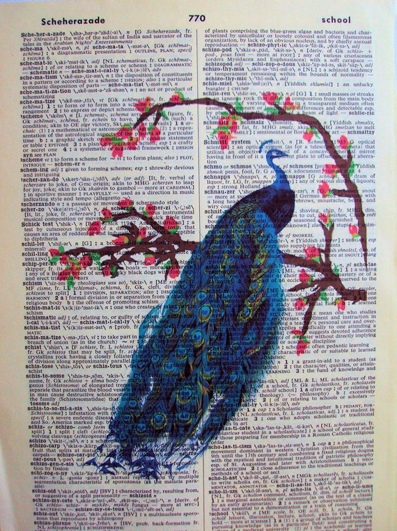 Perched Peacock  Vintage Dictionary Page Original Design