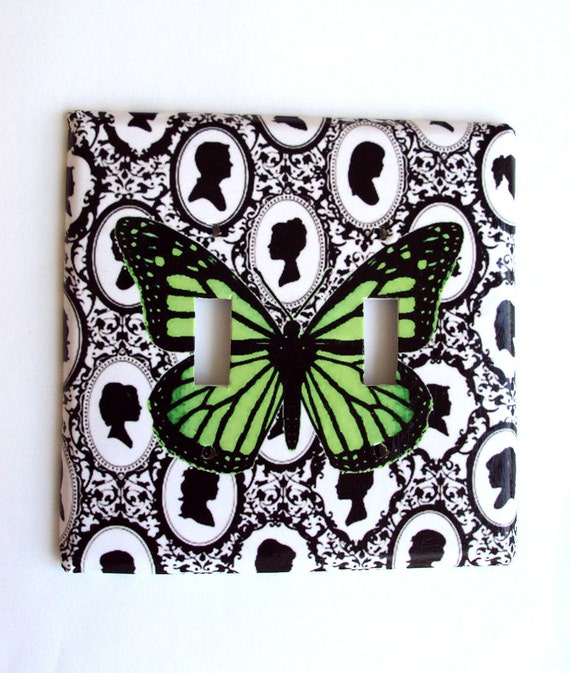 Silhouettes and Green Butterfly Double Light Switch Cover Ready Made