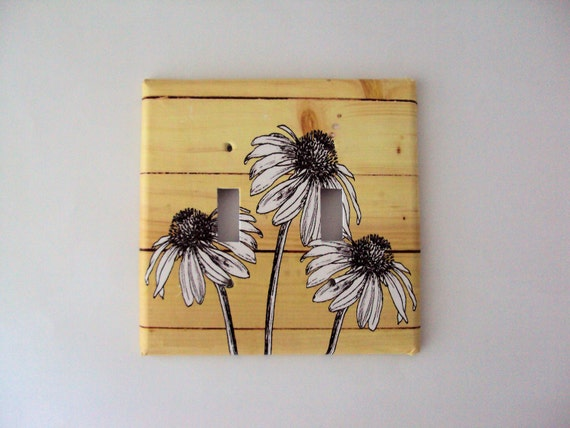 Wood Panel Double Light Switch Cover Ready Made Wall Flowers Design