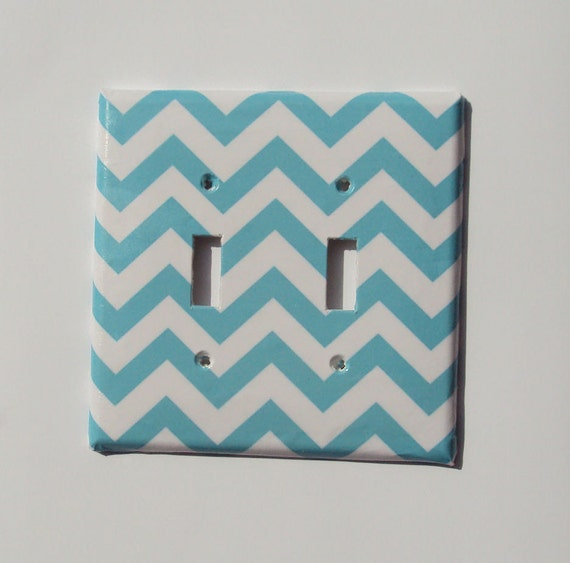 Ocean Blue Chevron Bar Graph Double or Single Light Switch Cover Oversized