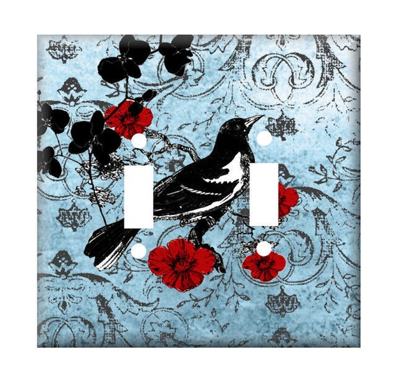 Blue Jean Black Bird Double Light Switch Cover or Choose Single Toggle