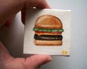 Original Mini Cheeseburger Oil Painting 2x2