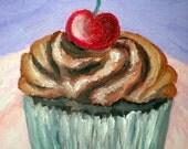 Original Chocolate Temptation Cupcake Oil Painting 5x7