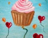 Original Cupcake Takes Flight Acrylic Painting 4x5