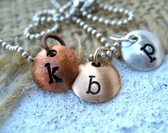 Tiny Letters Mixed Metals Necklace