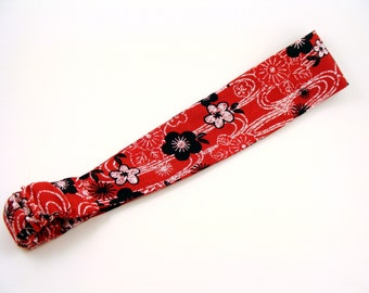 SALE Red Fashion Headband - Adult Women - 2 Inch Wide Fancy Fabric Headband Boho - Elastic Backing Head wrap Hair Wrap