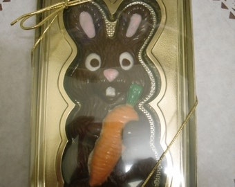 Solid Chocolate Bunny with Carrot in a gold gift box