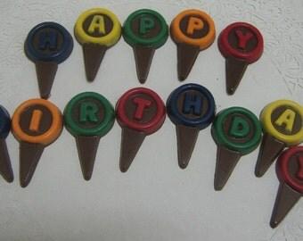 Chocolate Happy Birthday Cupcake Picks