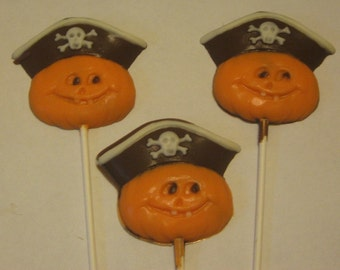 Pirate Pumpkin Lollipop Suckers Party Favors 12 count