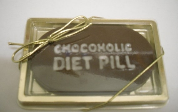 Single Chocoholic Diet Pill in a Gold Gift Box
