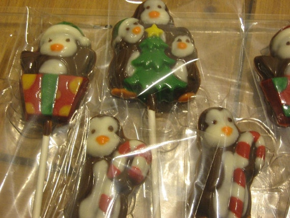 One dozen holiday penguin lollipops