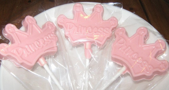 One dozen princess crown lollipops