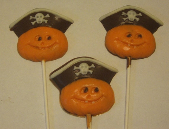 Pirate Pumpkin Lollipop Suckers Party Favors 12 count