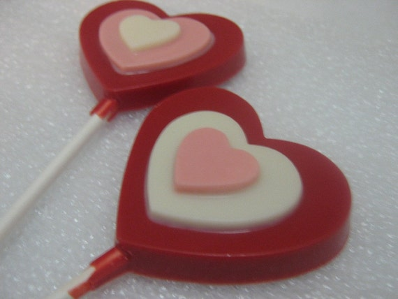Triple layer heart lollipop sucker party favor