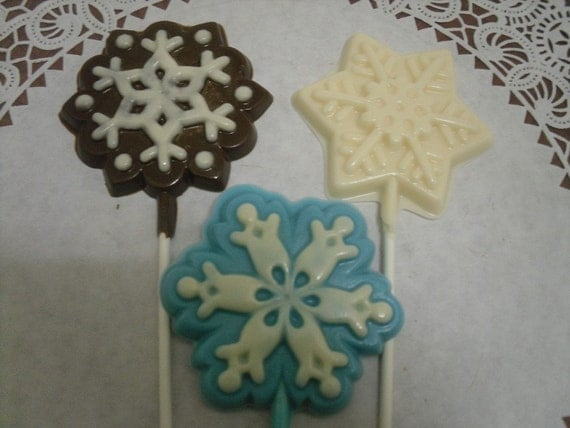 Set of 3 Large Snowflake Lollipops