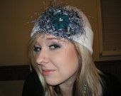 Classy Beanie with YoYo Flowers and Pearls, Beanie, Hair Accessories, Chic