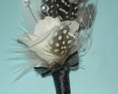 Boutonniere White Rose Feathers and Swarovski Crystals