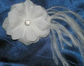 White Rose with Ostrage Feathers Bridal Hair Fascinator, Wedding Hair Accessories