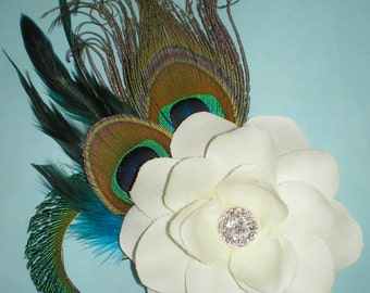Peacock Feathered Hair Fascinator, Bridal Hair Accessories, Hair Fascinator, Wedding Hair Accessories