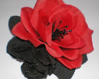Gothic Hair Fascinator,  Roses Red & Black Hair Fascinator, Hair Fascinator,  Hair Accessories