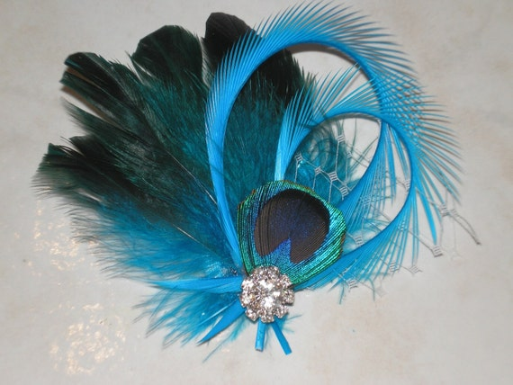 Peacock Feathered Rhinestone Hair Fascinator, Bridal Hair Accessories, Wedding Hair Fascinator, Prom Party