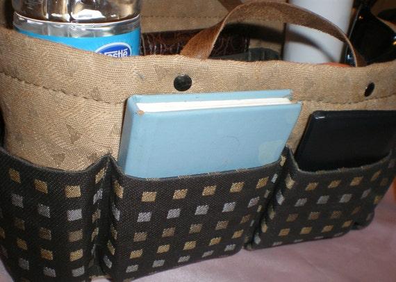 """purse ORganizer  Insert/EXTRA Sturdy in Knoll Metro Streetlight  , Natural /dark Olive/Tan  10.5 """"L 5""""W 6""""H"""