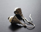 Sterling Silver Cream Swarovski Pearl Earrings - filigree