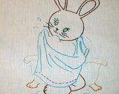 Saturday Night Bath  for Bunny Dish Towel