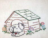 In the Dog House Embroidered Dish Towel