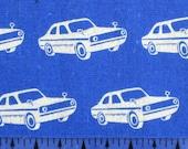 BOLT END  1 yard 11 inches Etsuko Furuya Japanese Fabric Echino Nico 2011 - Vintage Cars Blue