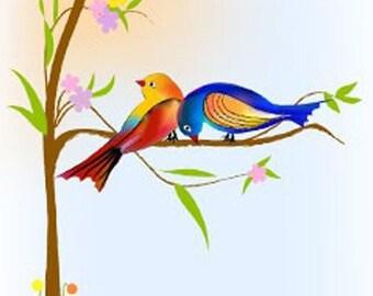 Valentine day Love card , love bird card,Spring Love bird, handmade greeting card