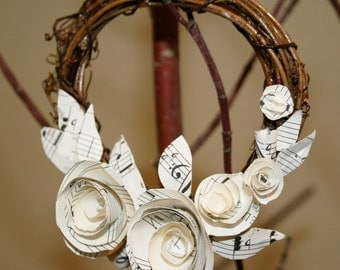 wreath paper flowers, music sheet flowers