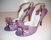 1940s pin up girl sling back CARMELETTES Lavender purple studded bow heels