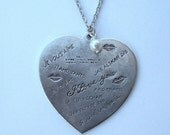I Love You in many languages Heart Necklace Silver