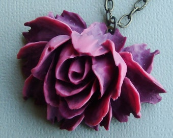 Doutone Rose Necklace  in Deep and Dusty Red