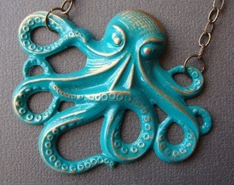 Octopus  Necklace   Marine Green Hand Painted - Made in the USA