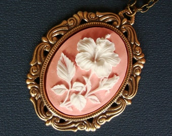 Pink Cameo - Hibiscus - Floral Victorian Cameo Necklace