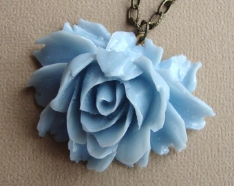 Rose Necklace in Glossy Baby Blue