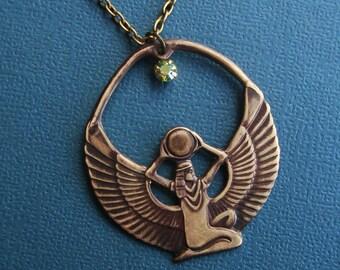 Egyptian Goddess Isis with Handmade  Dark Antique Brass Patina