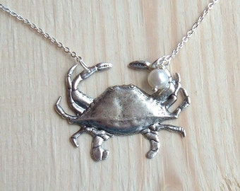 Hello Mr. Dungeness Crab Necklace in SIlver