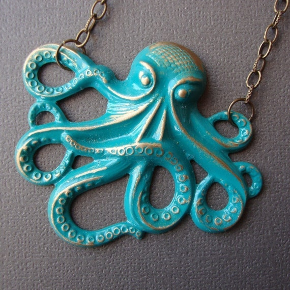 Marine Green Brass Octopus