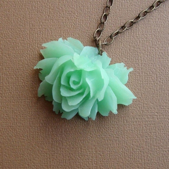 Rose Necklace in Mint Green